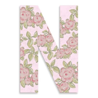 "Pink Roses On Pink Background Hanging Letter ""N"""