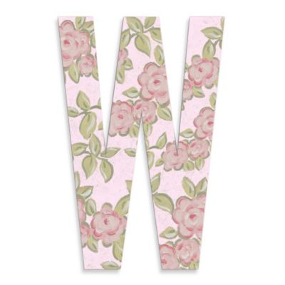 "Pink Roses On Pink Background Hanging Letter ""W"""