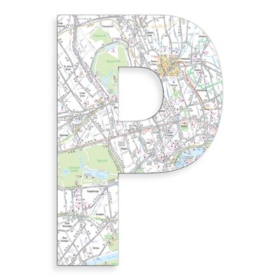 "Stupell Industries London Map 18-Inch Hanging Letter ""P"""