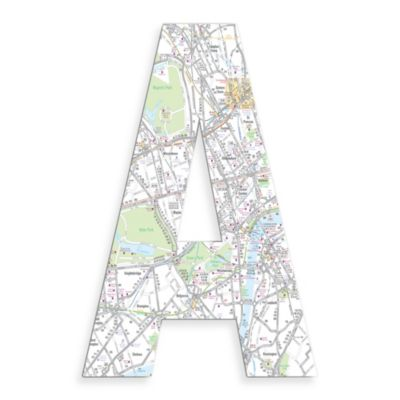 "Stupell Industries London Map 18-Inch Hanging Letter in ""A"""