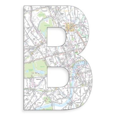 "Stupell Industries London Map 18-Inch Hanging Letter ""B"""