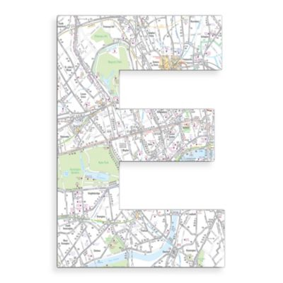 "Stupell Industries London Map 18-Inch Hanging Letter in ""E"""