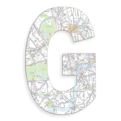"Stupell Industries London Map 18-Inch Hanging Letter ""G"""
