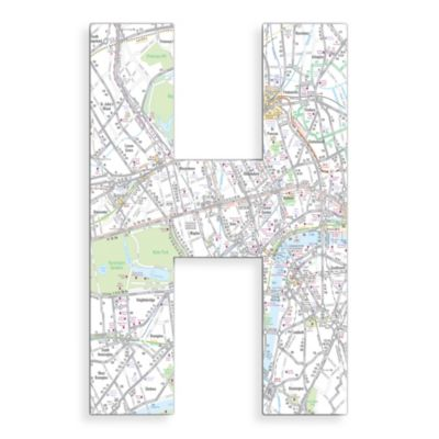 "Stupell Industries London Map 18-Inch Hanging Letter ""H"""