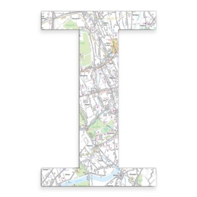 "Stupell Industries London Map 18-Inch Hanging Letter ""I"""