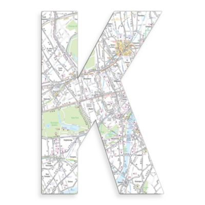 "Stupell Industries London Map 18-Inch Hanging Letter ""K"""