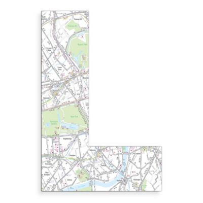 "Stupell Industries London Map 18-Inch Hanging Letter ""L"""