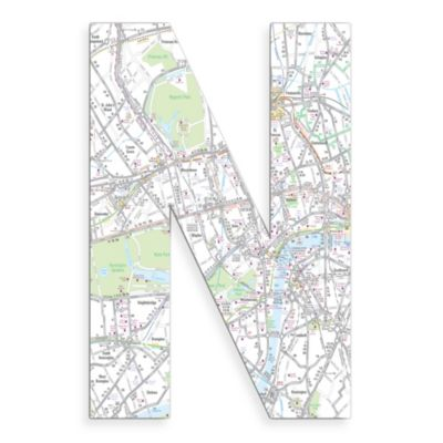 "Stupell Industries London Map 18-Inch Hanging Letter ""N"""