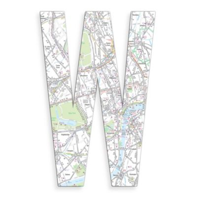 "Stupell Industries London Map 18-Inch Hanging Letter ""W"""