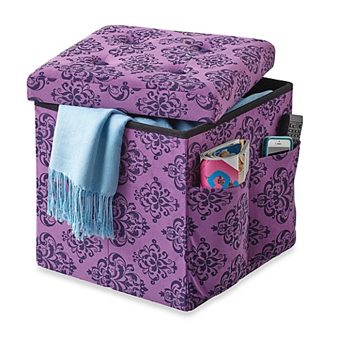 Sit and Store Folding Storage Ottoman in Purple