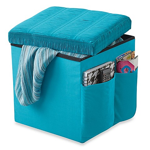 Buy sit and store folding storage ottoman from bed bath for Ottoman to sit on