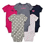 Carter's® Pink & Navy Short-Sleeve 5-Pack Bodysuits