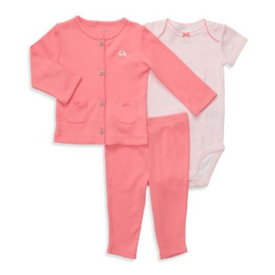 Carter's® Coral 3-Piece Cardigan Set