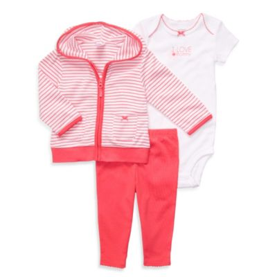 Carter's® 3-Piece Preemie Coral Hooded Cardigan Set