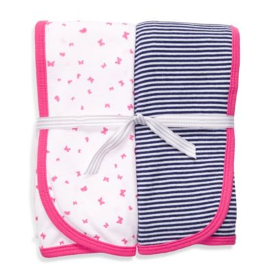 Carter's® Pink & Navy 2-Pack Swaddle Blankets