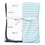 Carter's® White & Turquoise 2-Pack Swaddle Blankets