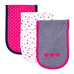 Carter's® Navy & Bright Pink 3-Pack Burp Cloths