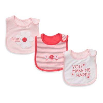 Carter's® Coral & Pink Floral 3-Pack Teething Bibs