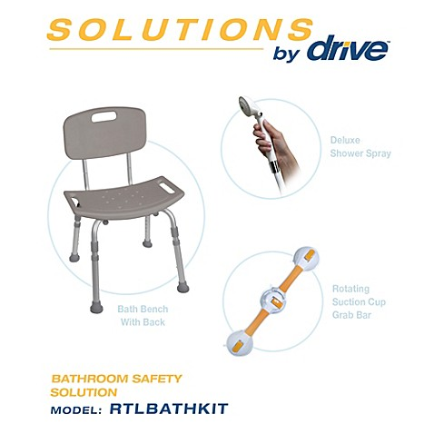 Drive Medical Bathroom Safety Kit with Bench Shower Spray and Grab Bar