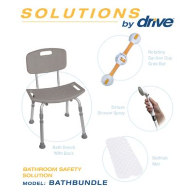 Drive Medical Bathroom Safety Kit With Bench, Grab Bar, Spray and Mat