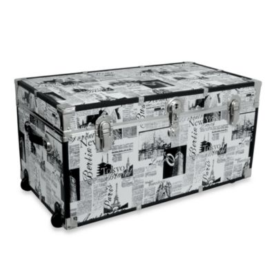 Storage Trunk with Wheels in Passport Print