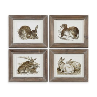 Uttermost Rabbits Decorative Artwork - Set of 4