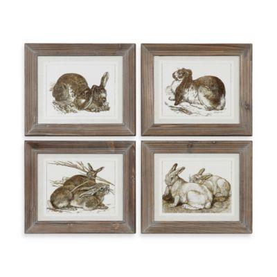 Uttermost Rabbits Decorative Artwork - Set of 4