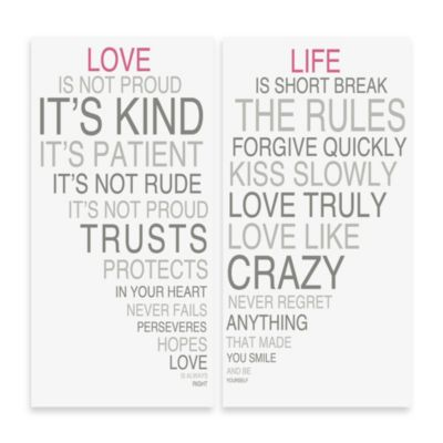 Love Is & Life Is II Typography Wall Décor (Set of 2)
