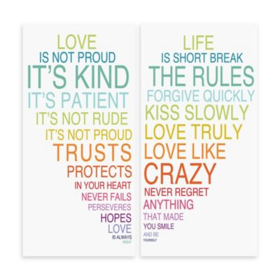 Love Is & Life Is III Typography Wall Décor (Set of 2)