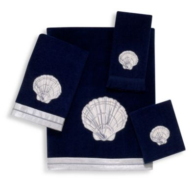 Big Shell Indigo Hand Towel