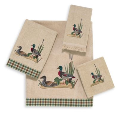 Avanti Mallard Ducks Linen Washcloth