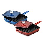 Simply Calphalon® Enamel Cast Iron 11-Inch Grill Pans with Press