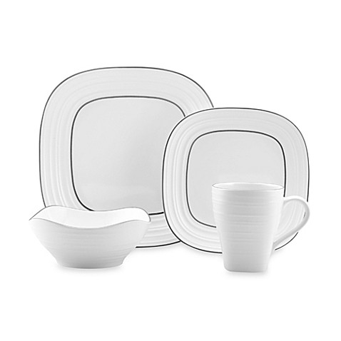 Mikasa® Swirl Square Banded White Dinnerware Collection