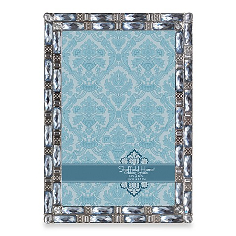 Sheffield Home 4-Inch x 6-Inch Decorative Jeweled Frame in Blue
