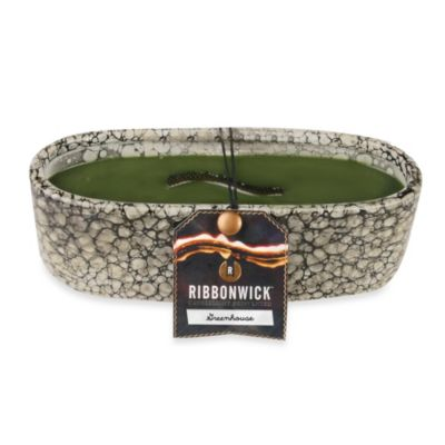 RibbonWick™ Outdoor Collection Pebble Stone Ceramic Greenhouse Scented Oval Medium Candle
