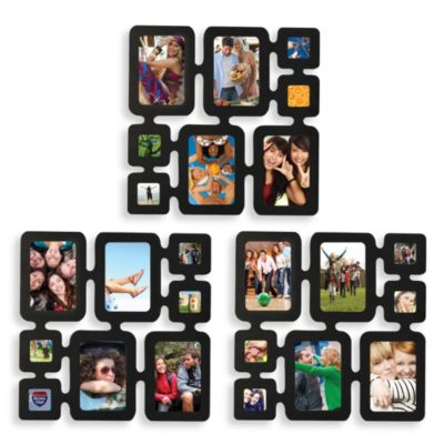 Multiframe 8-Photo Wall Collage in Black (Set of Three)