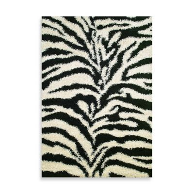 Shaggy Zebra 3-Foot 3-Inch x 4-Foot 7-Inch Rug in Black