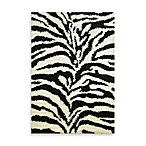 Shaggy Zebra Rug in Black
