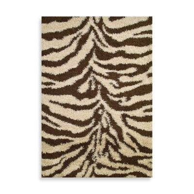 Shaggy Zebra 3-Foot 3-Inch x 4-Foot 7-Inch Rug in Natural