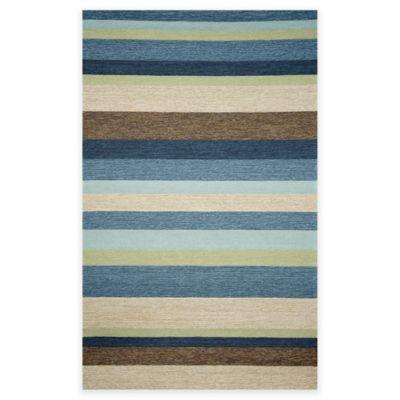 Trans-Ocean Stripe 8-Foot 3-Inch x 11-Foot 6-Inch Indoor/Outdoor Area Rug in Denim