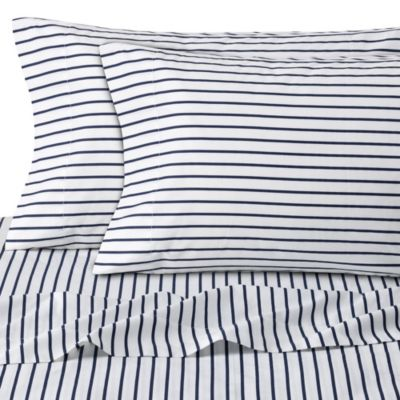 Cotton Percale Sheet Set in Navy Stripe