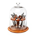 Godinger Dublin Crystal Flatware Caddy in Wood
