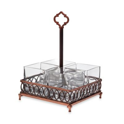Godinger Dublin Crystal Flatware Caddy in Copper