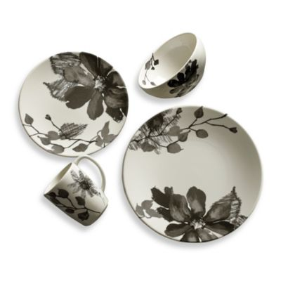 Kenneth Cole Reaction® Home Etched Floral Grey 4-Piece Dinnerware Set