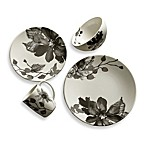 Kenneth Cole Reaction® Home Etched Floral Grey Round Dinnerware Collection