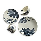 Kenneth Cole Reaction Home Etched Floral Blue Round Dinnerware Collection
