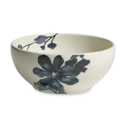 Kenneth Cole Reaction Home Etched Floral Blue Blowl