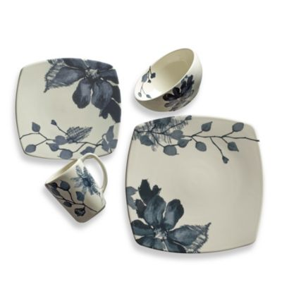 Kenneth Cole Reaction Home Etched Floral Blue Square 4-Piece Place Setting