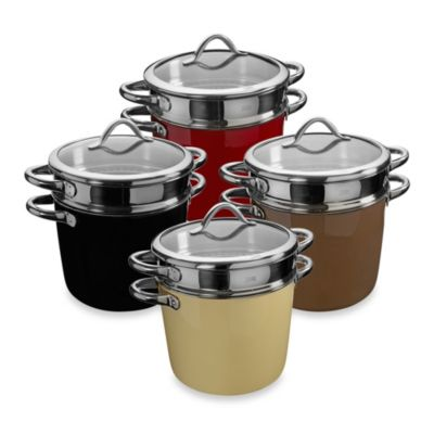 WMF Silit Ceramic Covered Pasta Pot with Stainless Steel Insert in Cream