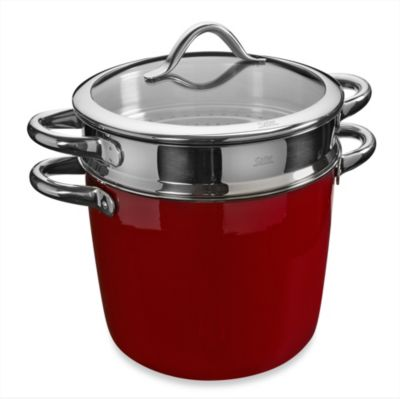 WMF Silit Ceramic Covered Pasta Pot with Stainless Steel Insert in Burgundy